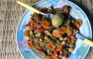 Grão de bico com legumes, preparado por Fábio Caramuru