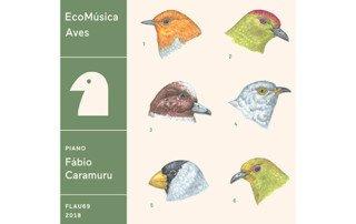 Capa do CD EcoMúsica | Aves, de Fábio Caramuru, lançado em 2018